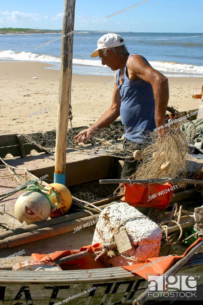 Stock Photo: People, fisherman, sea.