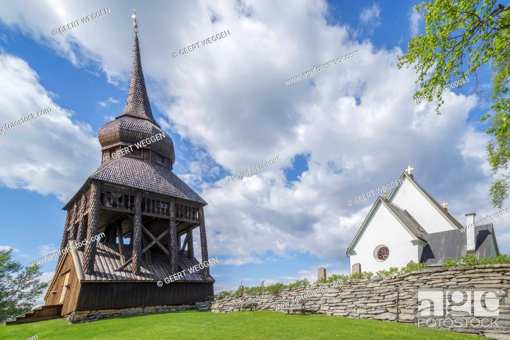 Stock Photo: Exterior of wooden historic church, Ostersund, Jamtland, Sweden.