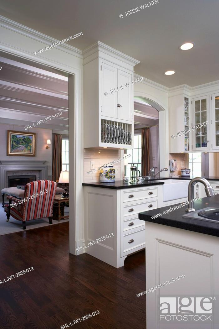 Kitchens View Across Kitchen To Family Room White Cabinets Dark Grey Granite Tops Stock Photo Picture And Rights Managed Image Pic Shl Ljw1 2925 013 Agefotostock