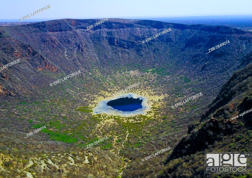Stock Photo: Aerial view of the volcano crater where Borana tribe men dive to collect salt, Oromia, El Sod, Ethiopia.