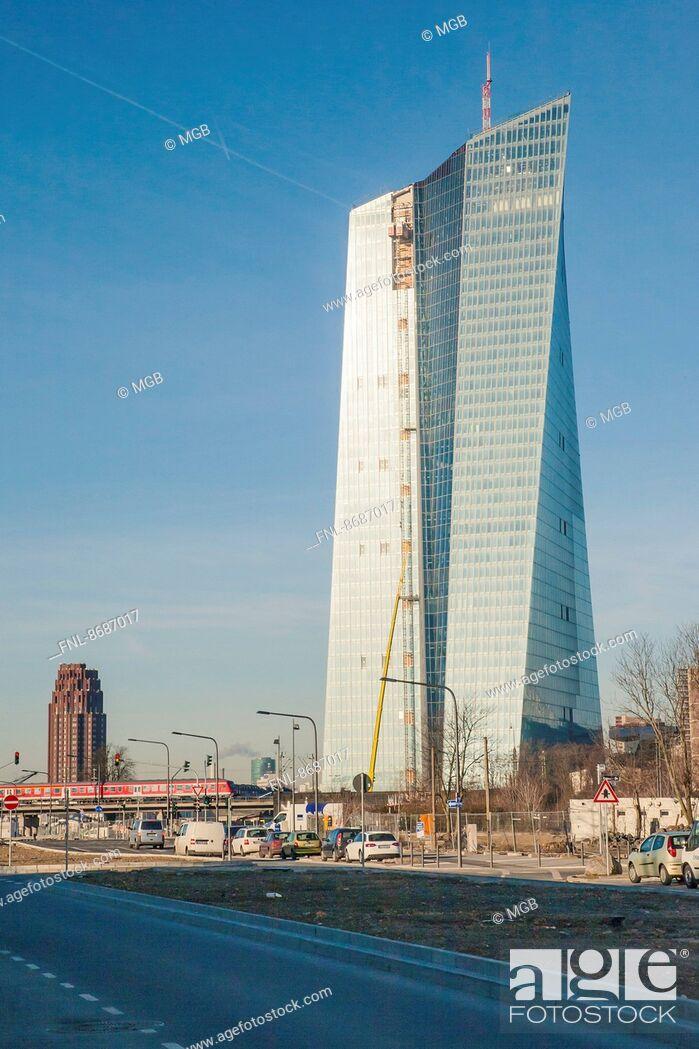 Stock Photo: Eurotower of the new EZB, Frankfurt am Main, Hesse, Germany, Europe.