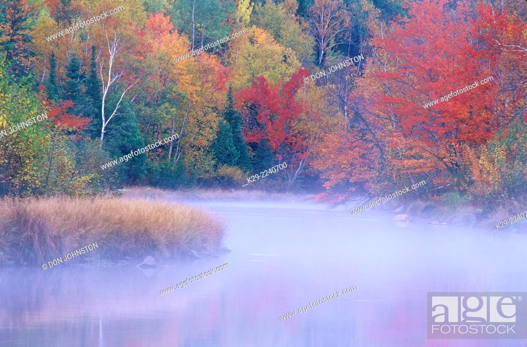Stock Photo: Autumn colour along the shore of the Junction Creek, Greater Sudbury, Ontario, Canada.