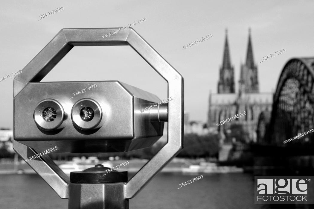Stock Photo: Binoculars overlooking the Cologne Cathedral.