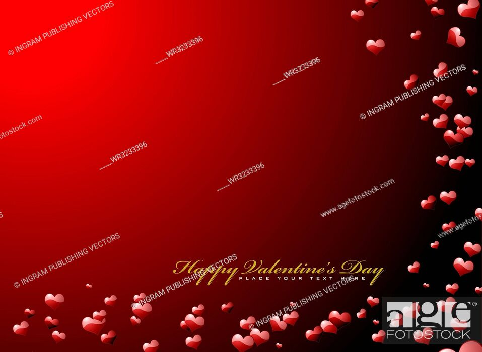 Vector: valentines day background in red with 3d hearts.