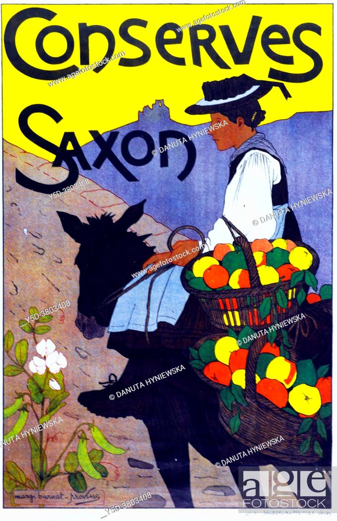 Imagen: Marguerite Burnat-Provins magnified Valais rural life in her paintings, but also in this beautiful poster for preserves, Title: Conserves Saxon, Year: 1905.