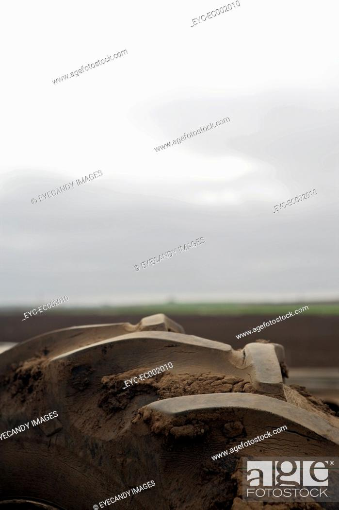 Stock Photo: View of a wheel of a tractor.