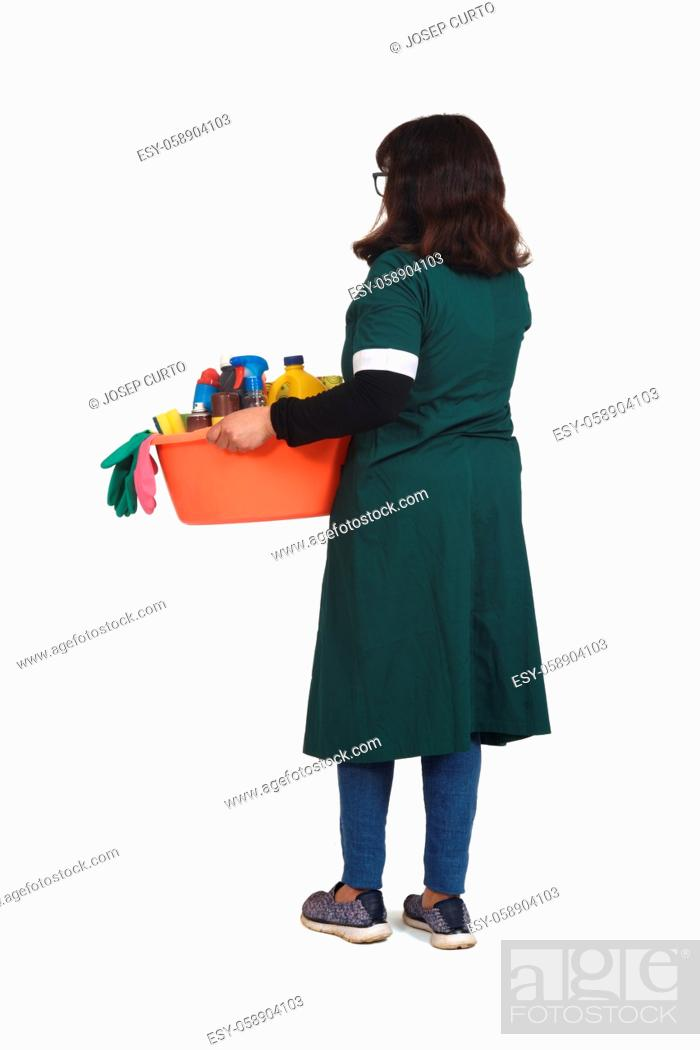 Stock Photo: rear view of full portrait latin woman with a bucket with cleaning products on white backgrounds.