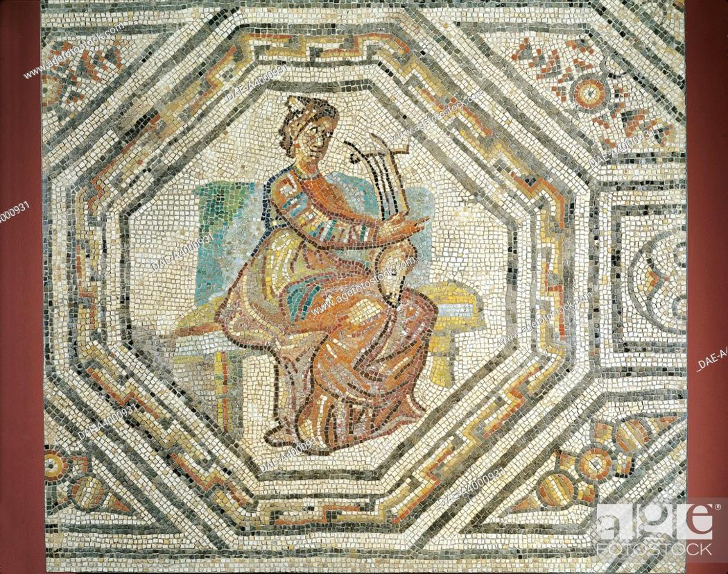 Stock Photo: Gallo-Roman civilization, 2nd-3rd century - Mosaic representing Erato, the muse of lyric poetry, from Augusta Treverorum (Trier).
