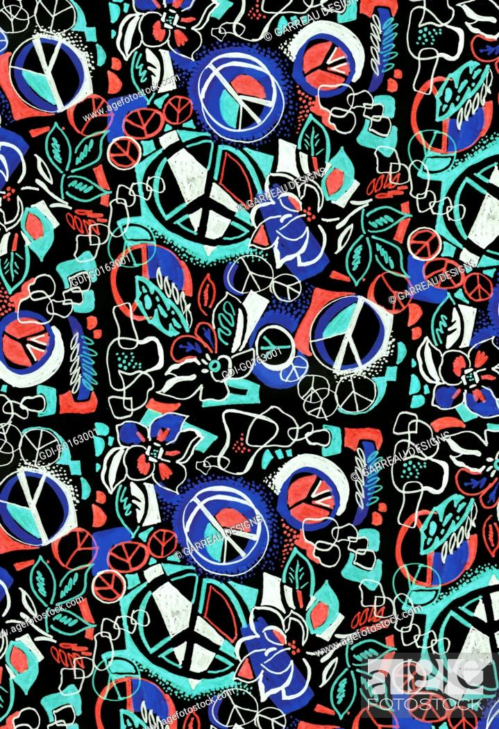 Imagen: Graffiti style design with peace symbols.