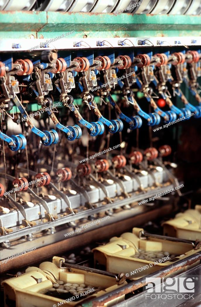 Stock Photo: A machine to reel the silk at Shatuo Silk Factory  Hotan  Xinjiang  China.