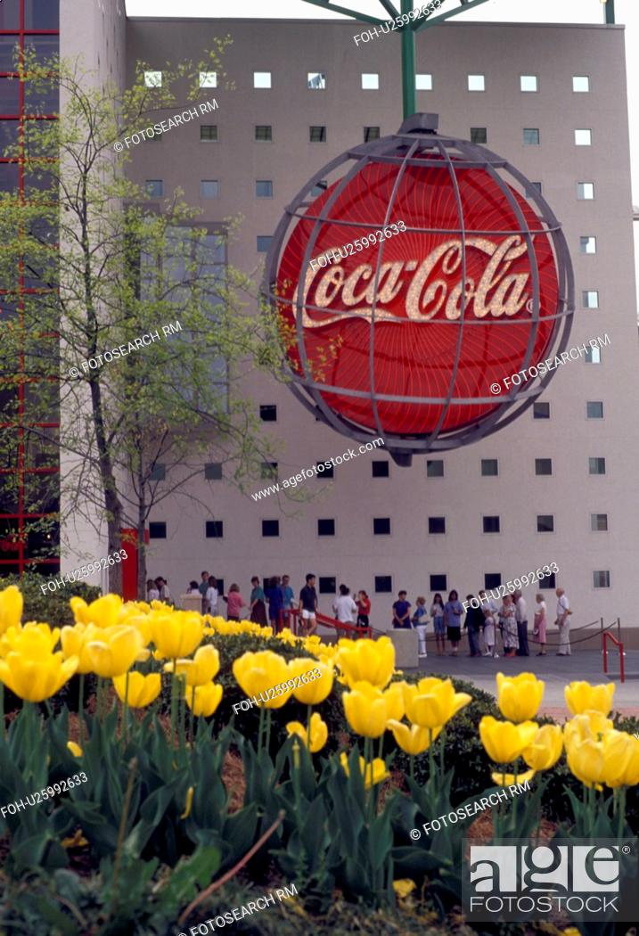 Stock Photo Coca Cola Atlanta Georgia World Of Yellow Tulips Decorate The Entrance To In Spring At Underground