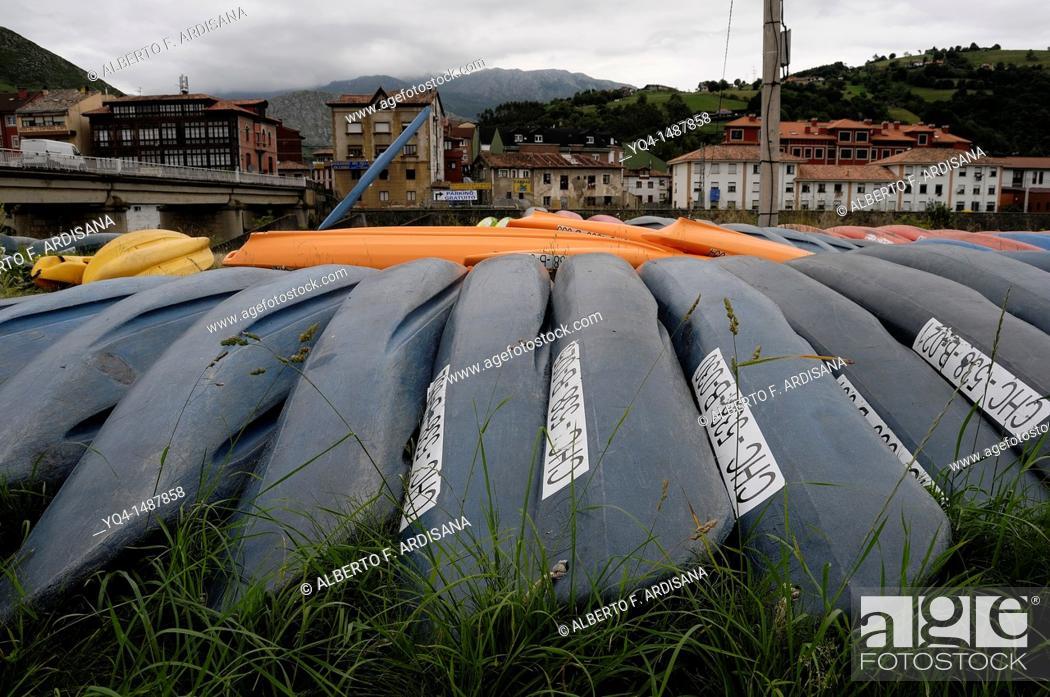 Stock Photo: Canoes along the river Sella, Arriondas, Asturias, Spain.