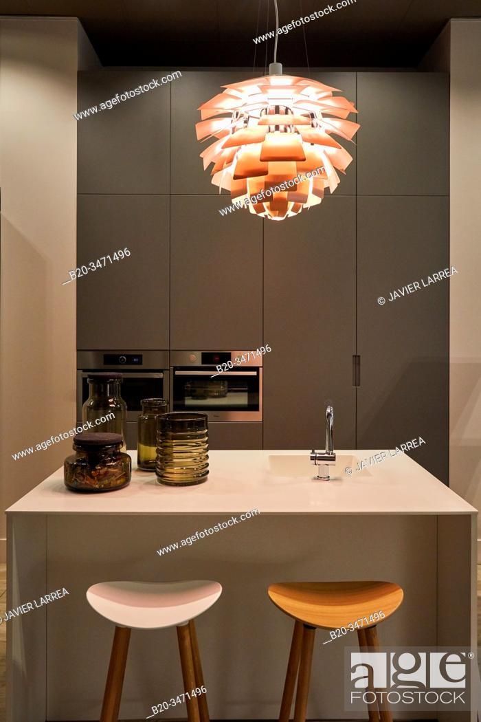 Stock Photo: Pendant lamp, Decorative lighting, Kitchen, Villa, Donostia, San Sebastian, Gipuzkoa, Basque Country, Spain, Europe.