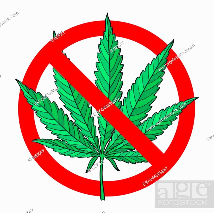 no drugs red sign hand drawn marijuana leaf prohibited stock vector vector and low budget royalty free image pic esy 044385867 agefotostock 2