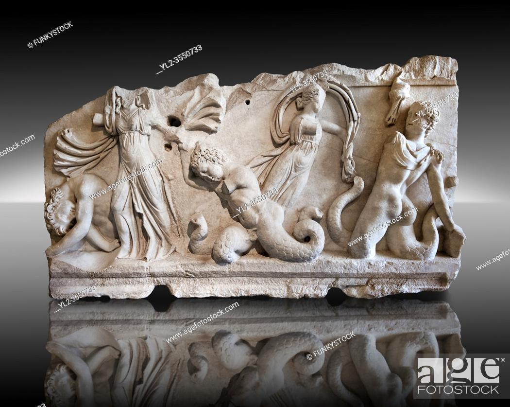 Stock Photo: 2nd Cent. AD Roman relief sculpture depicting Gigantomachy, the battle between the gods & the giants. From Aphrodisias (Geyne, Ayden), Turkey.