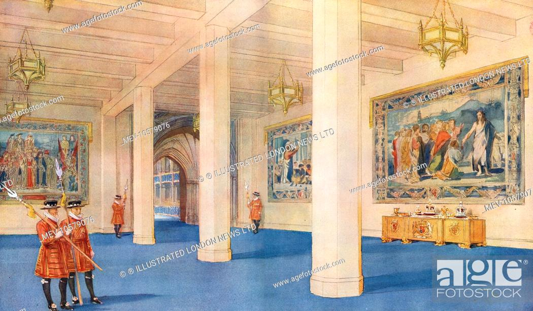Stock Photo: A view inside the Great Hall, a temporary annexe designed by Sir James West and built onto Westminster Abbey for the Coronation of King George VI in 1937.