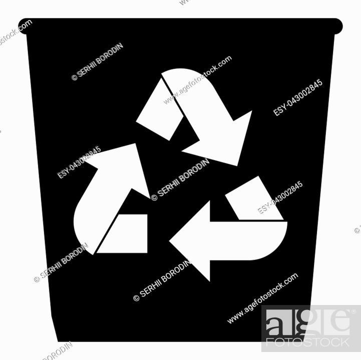 Stock Vector: Trash basket icon with utilization arrows icon black color vector illustration isolated.