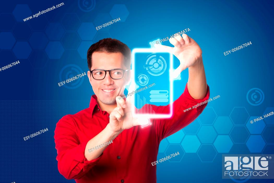 Happy Smiling Business Man In Red Shirt Looking At Digital