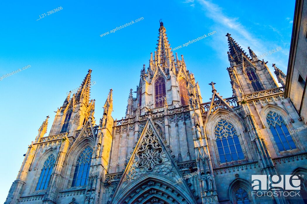 Stock Photo: The Cathedral of the Holy Cross and Saint Eulalia, also known as Barcelona Cathedral. Gothic cathedral and seat of the Archbishop of Barcelona.