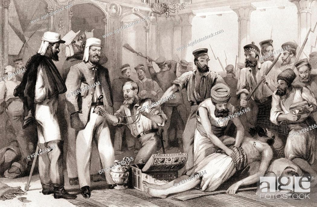 Imagen: Times Correspondent looking at sacking of Kaiser Bach capture of Lucknow, India, Asia.