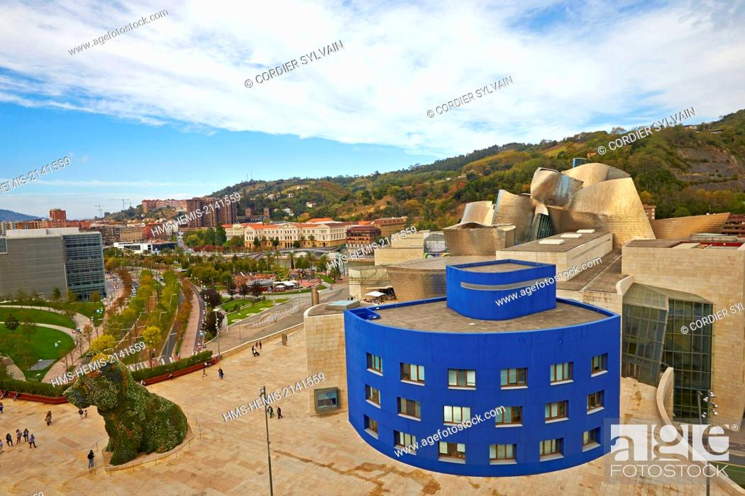 Stock Photo: Spain, Biscay, Basque Country Spain, Bilbao, Guggenheim Museum opened in 1997 in the Canadian-American architect Frank Gehry seen from the terrace of Silken.
