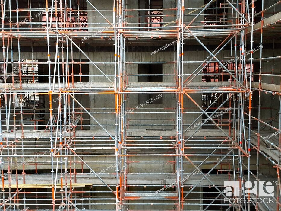 Stock Photo: Scaffolding on construction site at the Maankwartier in Heerlen, in the Limburg province of the Netherlands.