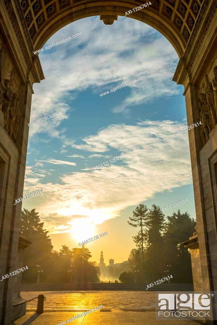 Stock Photo: Simplon Gate with Arco della pace at sunset; Milan, Lombardy, Italy.