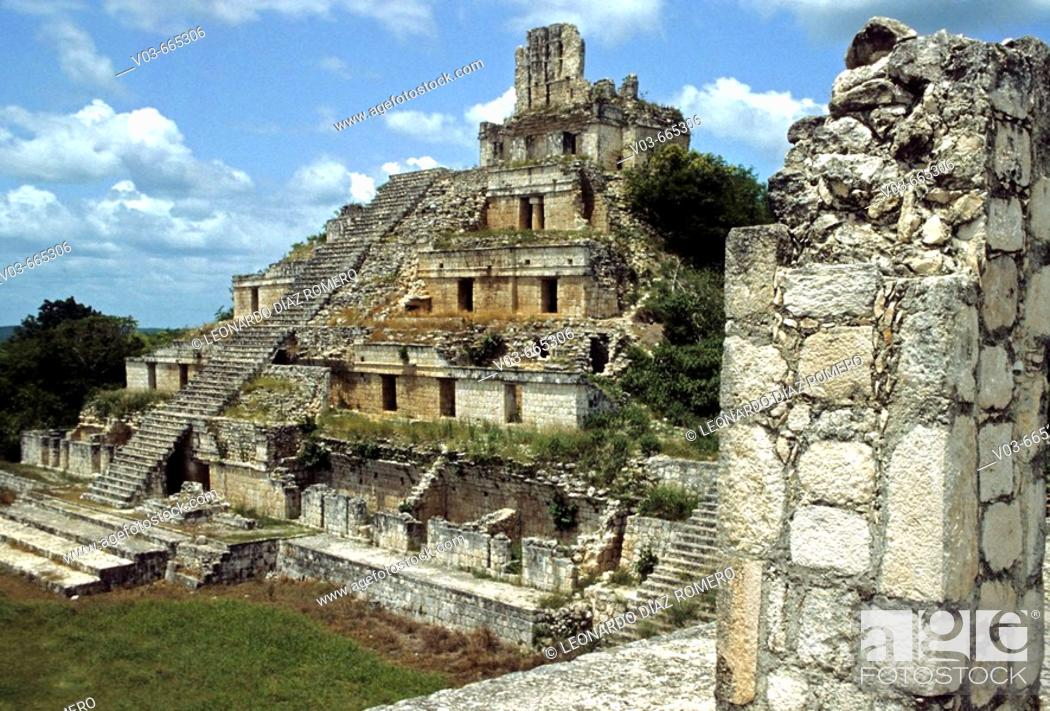 Stock Photo: Edzná, Maya archaeological site. Campeche, Mexico.