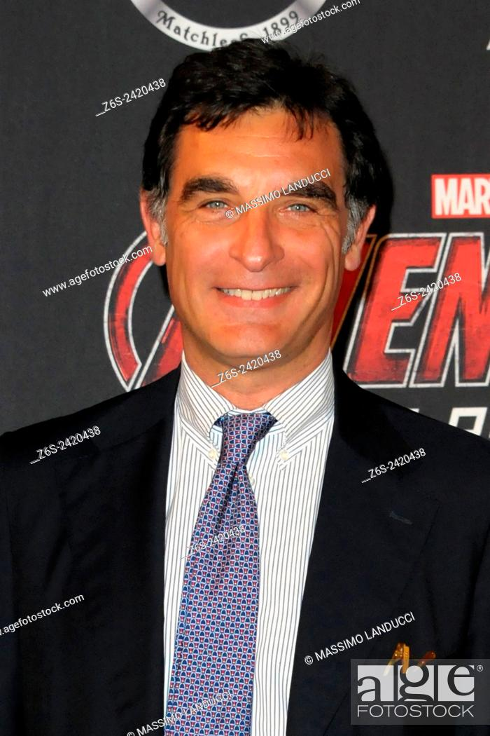 Stock Photo: tiberio tiberi; tiberi; TV presenter ; celebrities; 2015;rome; italy;event; red carpet ; avengers, age of ultron.