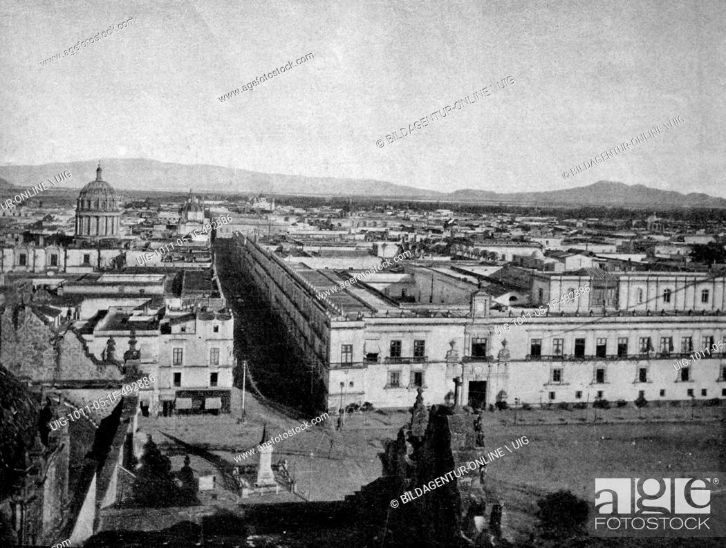 Stock Photo: One of the first autotypes of mexico city, historical photograph, 1884.