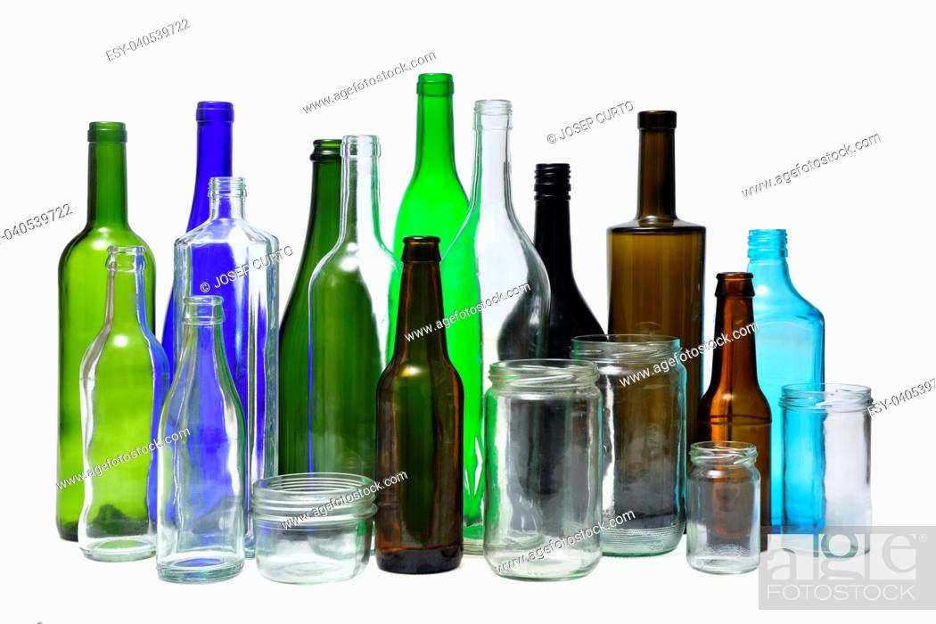 Stock Photo: recyling glass on white background.