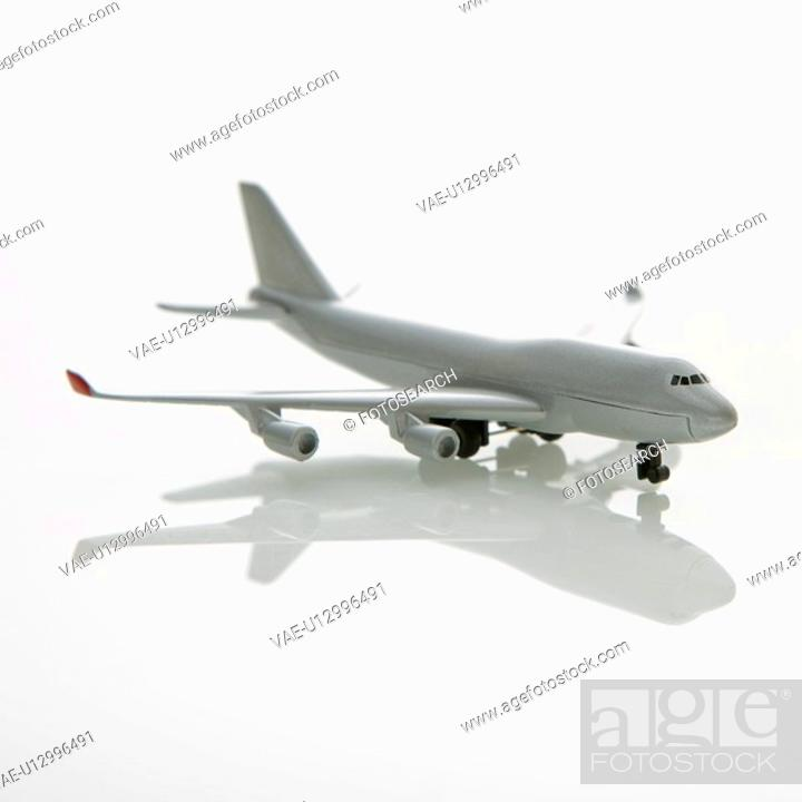 Stock Photo: Miniature model commuter jet airplane.