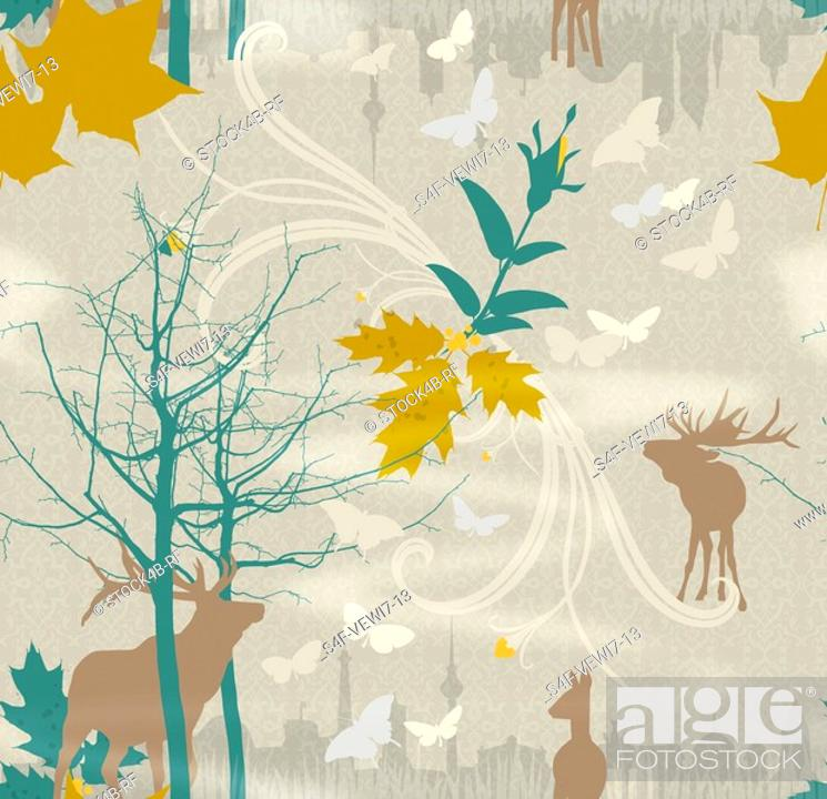 Stock Photo: Illustration of deers, leaves, bare trees and urban skyline.