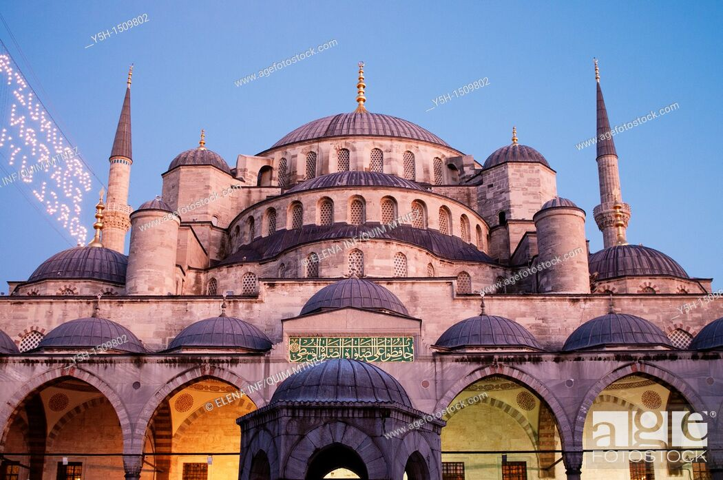 Stock Photo: Turkey  Istanbul  Blue Mosque, afternoon.