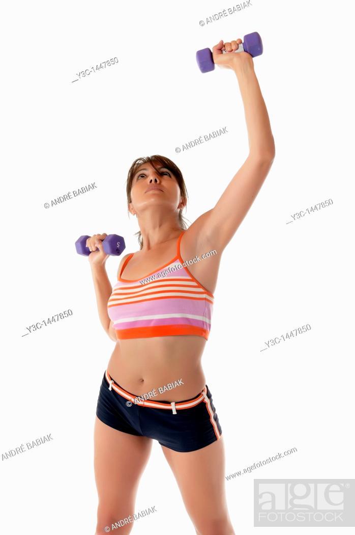 Stock Photo: Hispanic woman exercising fitness.