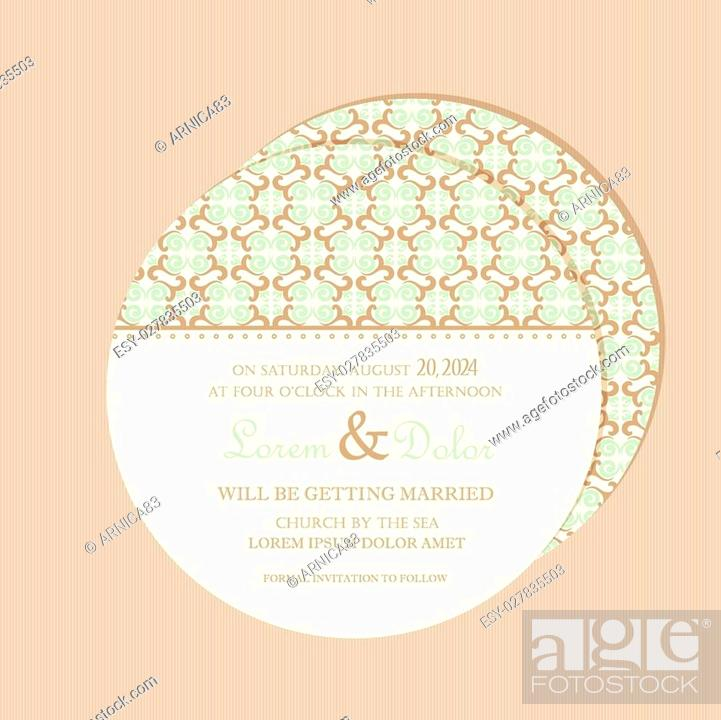 Round Double Sided Vintage Wedding Invitation Card With