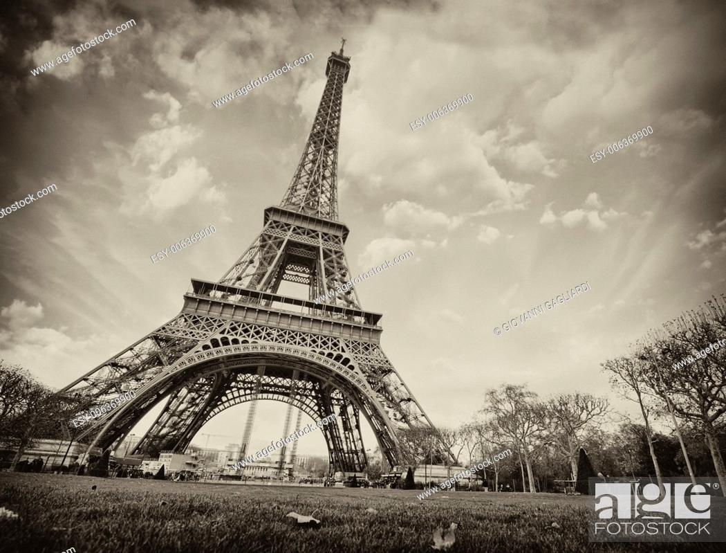 Stock Photo: Paris. Wonderful wide angle view of Eiffel Tower from street level in December.