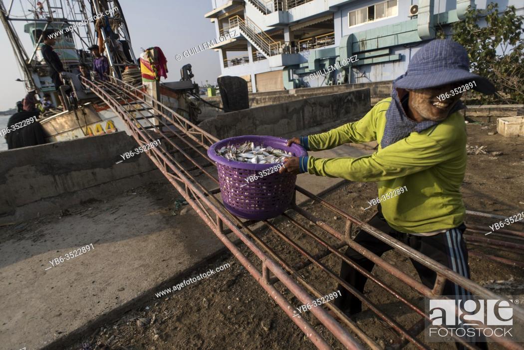 Stock Photo: A local man unloading a fish boat at the Samut Sakhon pier in Bangkok, Thailand.