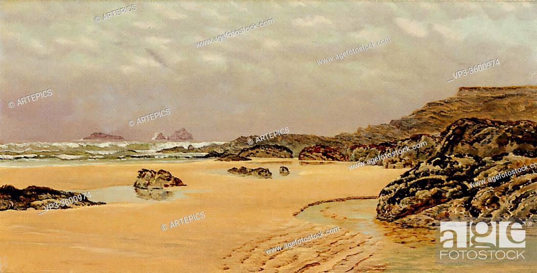 Stock Photo: Brett John - a View of Treyarnon Bay - British School - 19th Century.