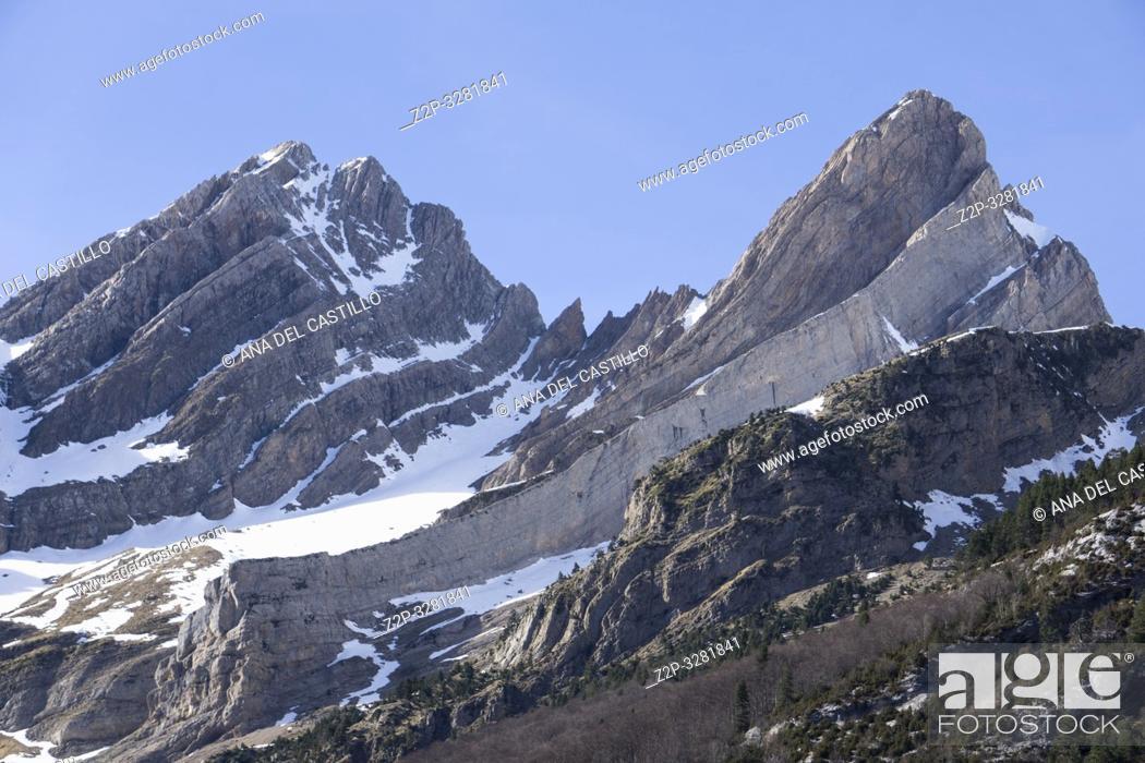 Stock Photo: Pineta glaciar cirque in Espierba Huesca Aragon Spain.