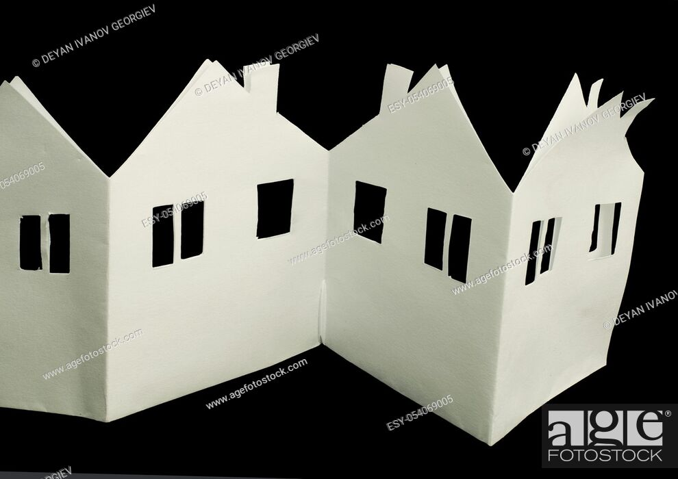 Stock Photo: White house paper made folded origami style.