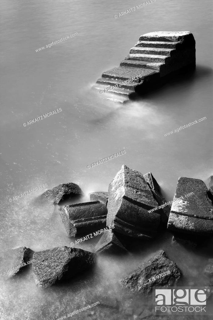 Stock Photo: Stairway into the sea, Neguri, Las Arenas, Getxo, Basque country, spain.