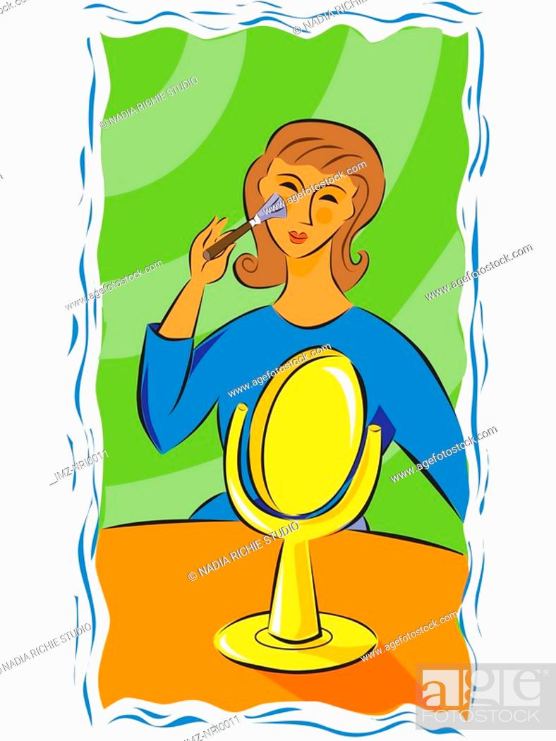 Stock Photo: A woman putting on makeup.