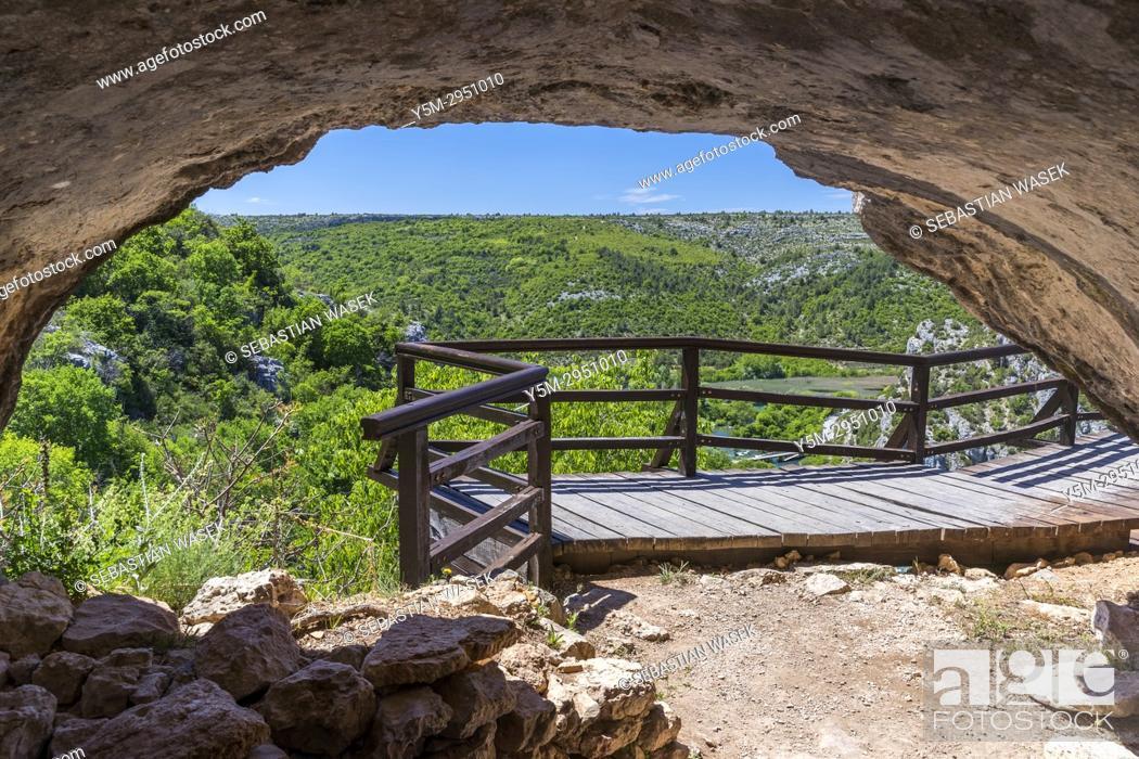 Stock Photo: Ozidana pecina cave above Roški Slap, Krka National Park, Bogatic, Sibensko-Kninska, Dalmatia, Croatia, Europe.