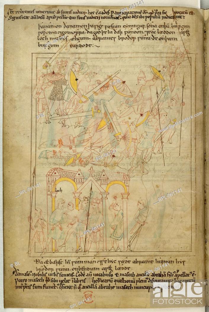 Battle of Sodom and Gomorrah Upper half of folio Genesis 14 1-12