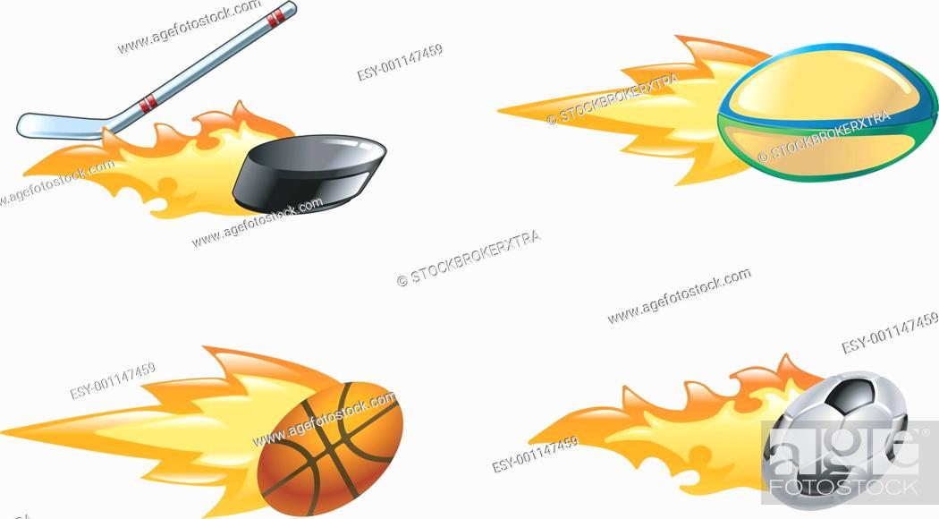 Stock Photo: Shiny flaming sport icons.