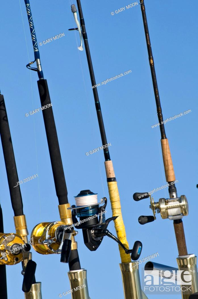 Stock Photo: Fishing poles on sportfishing charter boat, Ilwaco, Washington USA.