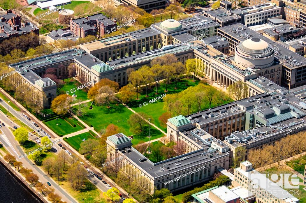 Stock Photo: Aerial view of the Massachusetts Institute of Technology's Main Campus.