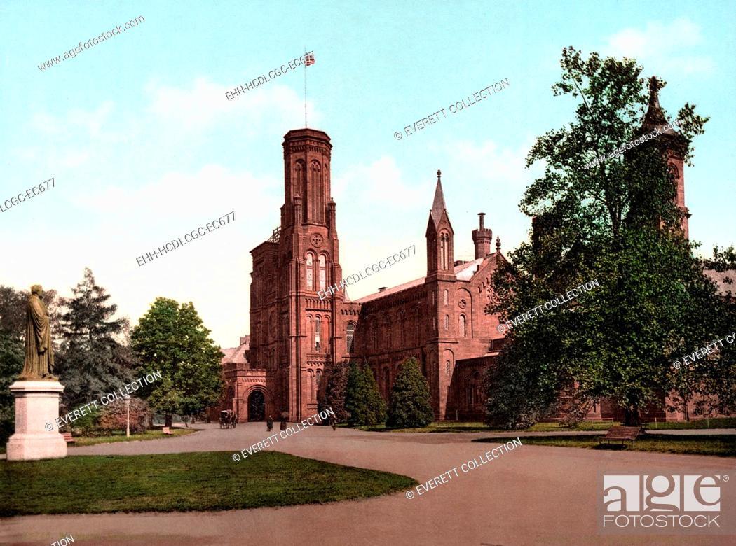 Imagen: The Smithsonian Institution Castle. Washington, DC. photochrom ca. 1898.