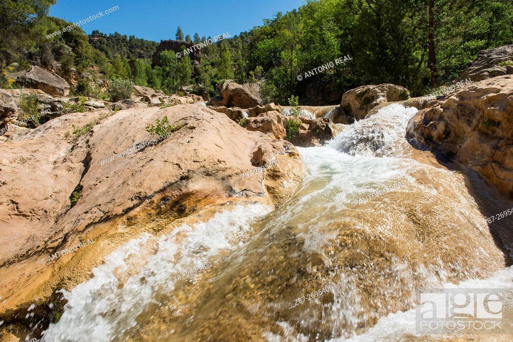Stock Photo: Las Chorreras waterfalls, Río Cabriel. Enguídanos. Cuenca province, Castile La Mancha, Spain.
